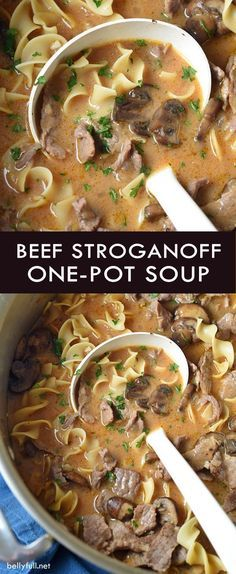 Classic beef stroganoff is transformed into a hearty, yet light soup. And no need to cook the noodles first, because it's all made in one pot. Easy weeknight dinner!
