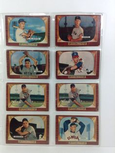 9 Bowman Baseball Cards 1955 Lot