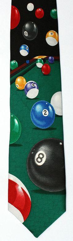New Pool Hall Mens Necktie Billiards Table Cue Ball Game Balls Sport Neck Tie #Addiction #NeckTie