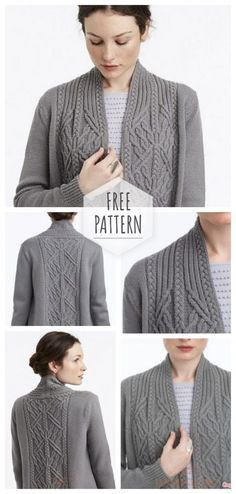 Women cardigan with aranas free patternYou can find Vogue knitting and more on our website.Women cardigan with aranas free pattern Knit Cardigan Pattern, Sweater Knitting Patterns, Baby Cardigan, Knitting Designs, Knit Patterns, Knitting Projects, Vogue Knitting, Free Knitting Patterns For Women, Knitting For Beginners