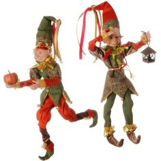 """RAZ 16"""" Orange and Green Posable Elf Set of 2  Assorted elves Set includes one of each style Made of Polyester, Resin Measures 16"""" (measured from tip of toes to hat outstretched) Posable"""