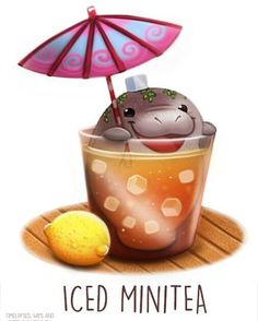 Daily Paint Bonbono by Cryptid-Creations on DeviantArt Cute Food Drawings, Cute Animal Drawings, Kawaii Drawings, Kawaii Doodles, Kawaii Art, Cartoon Art, Cute Cartoon, Animal Puns, Animal Food