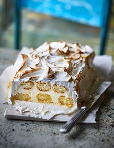 Lemon meringue ice cream loaf recipe - this traditional flavour combination is even better in loaf form with limoncello! Slice it up to serve at a summer party. Loaf Recipes, Lemon Recipes, Ice Cream Recipes, Sweet Recipes, Cake Recipes, Dessert Recipes, Pudding Recipes, Refreshing Desserts, Delicious Desserts