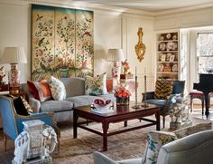 Beautiful traditional living room in blues, ivory, and pops of juicy colour by James Farmer. Author, decorator, and gardening and entertaining expert James Farmer stops by the podcast to share all his secrets. Formal Living Rooms, Home Living Room, Living Room Designs, Modern Living, Dining Rooms, Living Room Decor Traditional, Traditional House, Decor Inspiration, Foyer Decorating