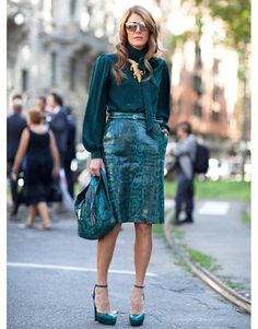 Anna Dello Russo wears all-green Gucci in the season's must-have snakeskin. - HarpersBAZAAR.com