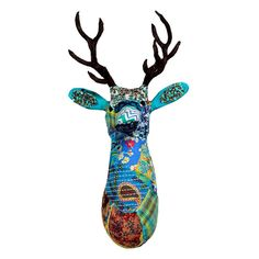 Deer Stag Head in Multi Color | Paper Mache over an iron frame #deer {so cool}