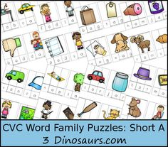 Free CVC Word Family Puzzles Short A: -ad, -ab, -ag, -am, -an, -ap, -ar, -at - 3Dinosaurs.com