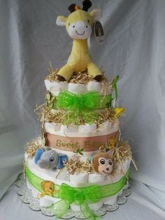 Custom diaper cake made to match Jungle Baby nursery theme by NoJo :)