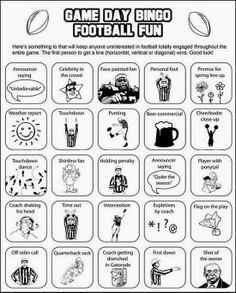 Super Bowl Bingo cards keep everyone interested — even sports haters Super Bowl Bingo! this would be fun to have at a Super Bowl party or on College Game daySuper Bowl Bingo! this would be fun to have at a Super Bowl party or on College Game day Football Super Bowl, Watch Football, Football Things, Football Food, Football Fever, Football Crafts, Football Humor, Football Stuff, Super Bowl Sunday