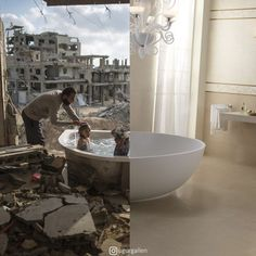 Digital collage artist Uğur Gallenkuş shows the stark contrast between the thriving Western world and the war-torn Middle East. Photomontage, Between Two Worlds, Around The Worlds, Mundo Cruel, Combine Pictures, Contrast Photography, Milk Photography, Photography Collage, Surrealism Photography
