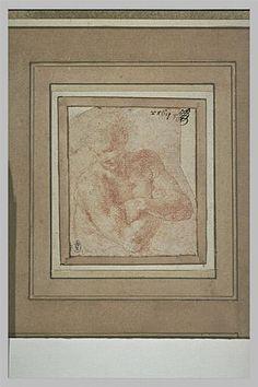 Le Primatice: Homme nu, en buste, les bras croisés, la tête de 3/4 vers la gauche, Le Louvre