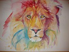 Laura Slade Art. Rainbow Lion, watercolour on paper