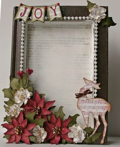 Michelle's Scrap bits: Recycled Book Christmas Frame with Tutorials - Bilderrahmen Picture Frame Wreath, Christmas Picture Frames, Picture Frame Crafts, Christmas Shadow Boxes, Christmas Pictures, Paper Picture Frames, Christmas Projects, Holiday Crafts, Christmas Holidays