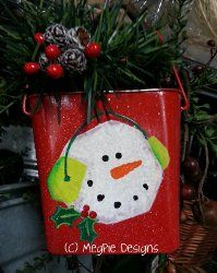 Painted Snowman Pail