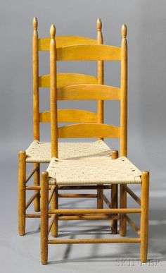 Two Shaker Yellow-painted Slat-back Side Chairs