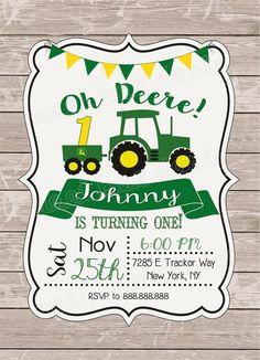 Fix John Deere Tractors 155303887191669200 - John Deere Tractor Birthday Invitation, Rustic Wood birthday, Green Tractor, John Deere Birthday, Bo Source by etsy Tractor Birthday Invitations, Farm Birthday Cakes, Birthday Invitation Message, Boy First Birthday, Boy Birthday Parties, Birthday Ideas, Birthday Banners, Birthday Celebration, John Deere Party