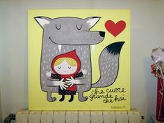 what a big heart you have! #painting #canvas #acrylic #littleredridinghood #cappuccettorosso #wolf #lupo #hug #love #cuore #heart