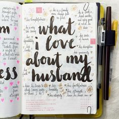 Ultimate List of Bullet Journal Ideas: 101 Inspiring Concepts to Try Today (Part Simple Life of a Lady : Keep your mind focused on how much you like your husband by focusing on every good thing about him. Find more bullet journal ideas in this post. Love Journal, Bullet Journal Inspo, Bullet Journal And Happy Planner, Bullet Journal Birthday Tracker, Bullet Journals, Journal Prompts, Journal Pages, Writing Prompts, Bujo
