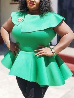 Plus Size Patchwork Plain Mid-Length Women's Blouse Plus Size Jeans, Plus Size Tops, Nigerian Lace Styles, Scuba Dress, African Design, Stretch Dress, African Dress, Fashion Outfits, Fashion Ideas
