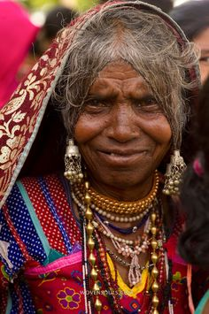 Gypsy Woman from Lambani Tribe, forest dwellers, now settled in hamlets in rural Karnataka, India. Related to the Rabaris gypsies of Kutch, Gujarat.