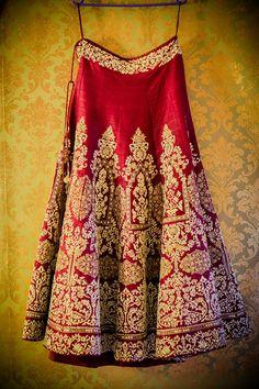 An Anju Modi Red Lehenga for Real Bride Shanu of WeddingSutra.