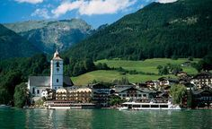 St. Wolfgang, Austria is located on the Wolfgangsee Lake, 50 km east of Salzburg