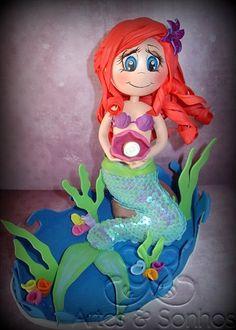 Topo de bolo- A sereia Ariel feito em EVA