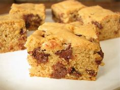 Peanut Butter Chocolate Chip Cookie Bars. These might be good to make and ship as a gift.