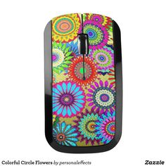 Colorful Circle Flowers Wireless Mouse - flower, flowers,colorful, electronic, wireless, gift, gifts, gift ideas,