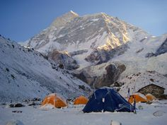 """""""The last Tea-House!!"""" Makalu Base Camp with Mt. Makalu in the background as seen in a cold morning..."""
