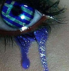 """""""An eye sees the Greek flag and weeps. It weeps for the current situation, it weeps about Greece's degradation, it weeps about what has come and what will come…"""" This pictur… Gorgeous Eyes, Pretty Eyes, Cool Eyes, Amazing Eyes, Sad Eyes, Open Your Eyes, For Your Eyes Only, Crying Eyes, Greek Flag"""