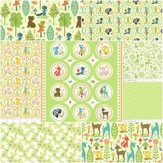 Woodland Tails Fat Quarter Bundle in Green 8 pieces 20.50