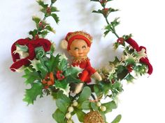 Christmas Pixie Elf with Plastic Mistletoe and Holly Hanging Decoration by BornAtTheWrongTime #kitsch #kitschy #kitschmas #xmas