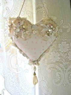 heart pillow- pretty- shabby chic pillow- romantic heart pillow- fiber art- frayed edges- pearls and buttons