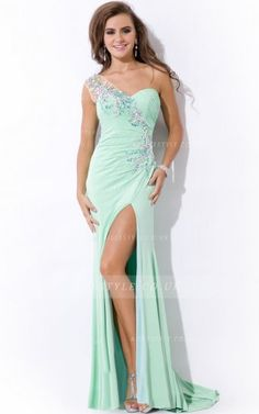 Sleeveless One Shoulder Pleated Long Mint Chiffon Prom Dress with Crystal _2