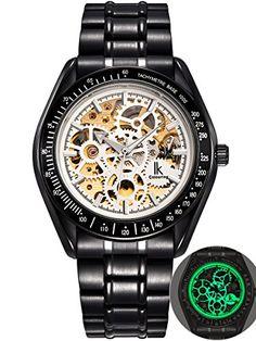 Alienwork IK Lumineux mechanische Automatikuhr Skelett Automatik Armbanduhr Uhr Leuchtzifferblatt Metall weiss schwarz 98545G-G-02 - http://uhr.haus/alienwork/alienwork-ik-lumineux-mechanische-automatikuhr