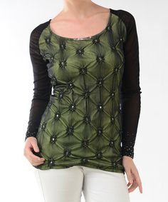 Take a look at this Green & Black Embellished Sheer Back Top by Lulu on #zulily today!