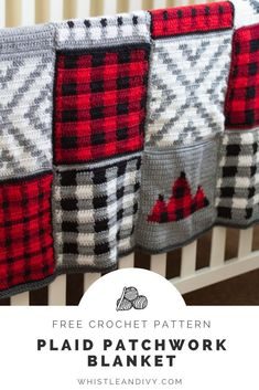 Crochet Plaid Patchwork Blanket - Free Pattern This darling blanket includes 5 crochet afghan squares you can mix and match to make your own plaid blanket that way you. Crochet Afghans, Crochet Squares Afghan, Afghan Crochet Patterns, Baby Blanket Crochet, Crochet Stitches, Crochet Blankets, Crochet Square Blanket, Dishcloth Crochet, Crochet Quilt