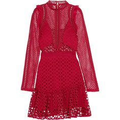 Self-Portrait Ruffled georgette-trimmed guipure lace mini dress ($315) ❤ liked on Polyvore featuring dresses, vestidos, red, red lace cocktail dress, lace dress, lace cocktail dress, sheer mini dress and see-through dresses
