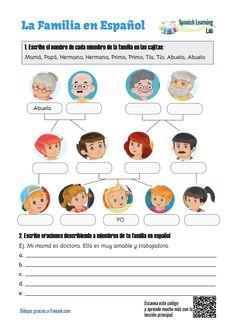 Family Tree in Spanish: PDF Worksheet - SpanishLearningLab Spanish Worksheets Family, Spanish Lessons Online, Family Tree Worksheet, Spanish Classroom Activities, Spanish Lessons For Kids, Spanish Teaching Resources, Spanish Language Learning, Spanish Lesson Plans, Spanish Practice