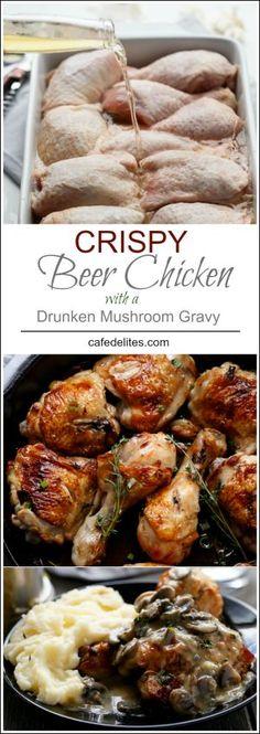 Crispy Beer Chicken with Drunken Creamy Mushroom Gravy | http://cafedelites.com // Chicken : https://www.zayconfresh.com/campaign/30