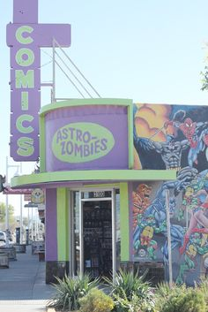 Astro Zombies comic book store in Albuquerque,New Mexico. Love the design and colors on this storefront.