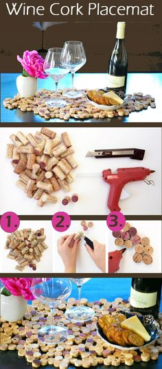 DIY Wine Cork Placemat also in middle of dining room table to hold hot stuff..hot pad for kitchen