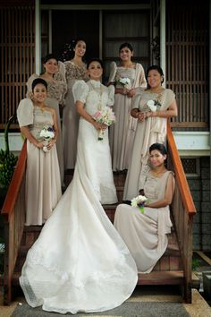 The bride, groom and the entourage wore traditional gowns and barongs for the Philippines wedding. Wedding Dress Gallery, Wedding Dresses Photos, Designer Wedding Dresses, Filipiniana Wedding Theme, Filipiniana Dress, Bridal Gowns, Wedding Gowns, Filipino Wedding, Spring Wedding Bouquets