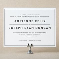Designed by Amanda Jane Jones of Kinfolk, Simple Elegance is a minimalist letterpress wedding invitation with modern style and foil stamped envelope liners.