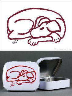 JACQUELINE DITT - Grafik Dog Red signiert & Tin Box Dog Multiple limitiert Hund  - http://stores.ebay.de/universal-arts  and www.universal-arts.de