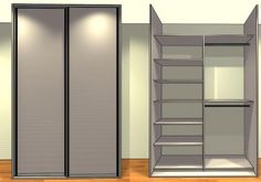 Placard sur mesure 2 portes coulissantes bois mélaminé - Ref:2V1-2C2