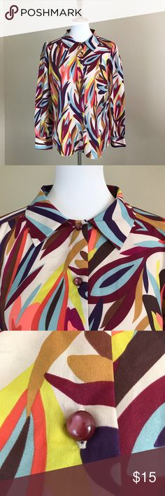 """Missoni for Target Abstract Colorful Print Blouse Missoni for Target Colorful abstract print blouse Size XL Measures approx 21.5"""" across the bust and 26"""" in length Gently pre-owned and ready to wear Missoni for Target Tops Button Down Shirts"""