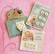 Vintage buttons/cards