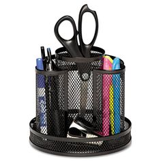 f0d6902b73b Keep office supplies organized and easily accessible with this black mesh  desk organizer. Eight different